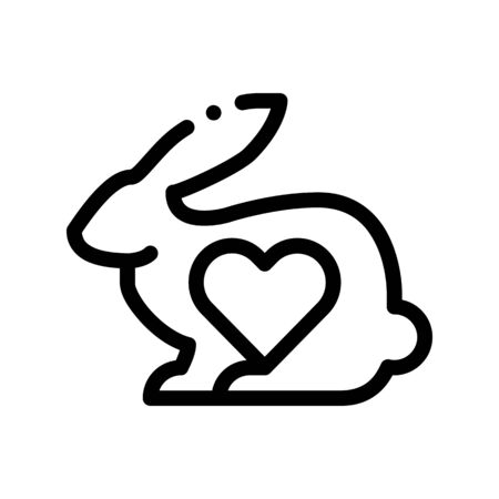 Animal Rabbit And Heart Thin Line Icon. Testing Organic Cosmetic On Animal, Natural Component Linear Pictogram. Ecology, Cruelty-free Product, Molecular Analysis Contour Illustration Zdjęcie Seryjne