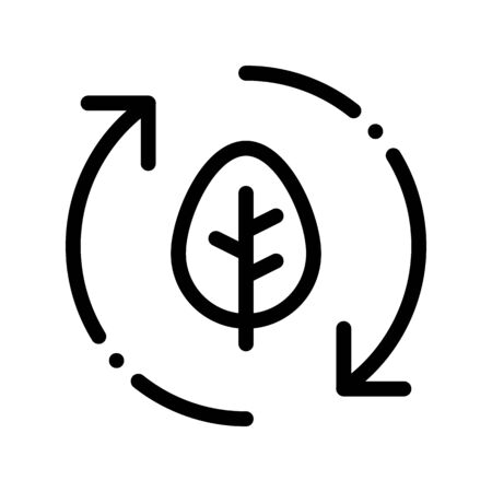 Forest Leaves Tree Arrows Thin Line Icon. Organic Cosmetic, Natural Forest Component Linear Pictogram. Eco-friendly, Cruelty-free Product, Molecular Analysis Contour Illustration 写真素材 - 128880944