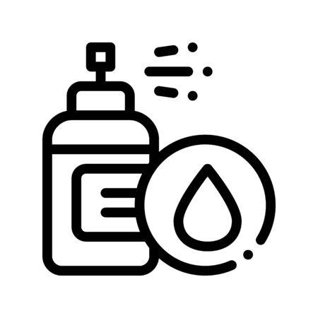 Spray Lotion Drop Cosmetic Thin Line Icon. Organic Cosmetic, Natural Ingredient Linear Pictogram. Eco-friendly, Cruelty-free Product, Molecular Analysis Contour Illustration 写真素材 - 128880956