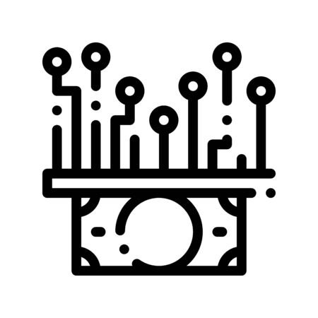 Electronic Money Cash Chip Thin Line Icon. Online Money Transactions, Secure Financial Payment Operation Linear Pictogram. Internet Banking Deposit, Currency Exchange Contour Illustration