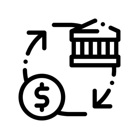 Monetisation Coin Cash Bank Thin Line Icon. Online Bank Transactions, Secure Financial Payment Operation Linear Pictogram. Internet Money Deposit Currency Exchange Contour Illustration