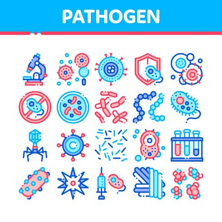 Collection Pathogen Elements Sign Icons Set. Pathogen Bacteria Microorganism, Microbes And Germs Linear Pictograms. Analysis In Flask, Microscope And Injection Color Contour Illustrations Banco de Imagens
