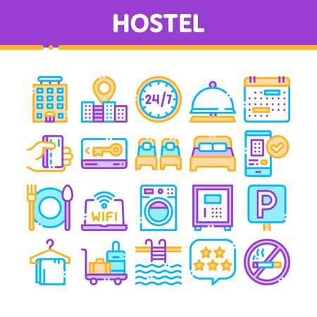 Collection Hostel Elements Sign Icons Set. Building Hostel And Location, Calendar And Parking Symbol, Bed And Laundry Machine Linear Pictograms. Wifi Internet Color Contour Illustrations