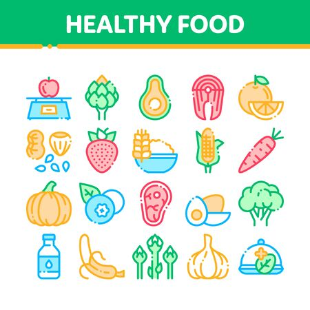 Collection Healthy Food Thin Line Icons Set. Vegetable, Fruit And Meat Healthy Food Linear Pictograms. Strawberry And Orange, Blueberry And Pumpkin, Eggs And Fish Color Contour Illustrations