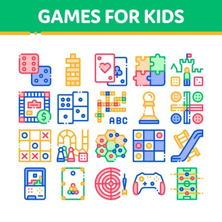 Interactive Kids Games Thin Line Icons Set. Domino, Chess And Video Games Controller Linear Pictograms. Cards, Billiard, Darts Color Contour Illustrations Banco de Imagens
