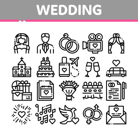 Collection Wedding Thin Line Icons Set. Characters Bride And Groom, Rings And Limousine Wedding Elements Linear Pictograms. Church And Arch, Fireworks And Dancing Black Contour Illustrations Banco de Imagens