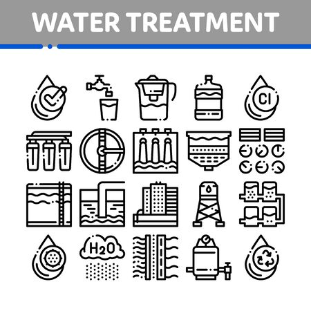 Water Treatment Items Thin Line Icons Set. Filter And Cleaning System Water Treatment Elements From Microbe Germs Linear Pictograms. Rain Cloud And Pump Station Black Contour Illustrations