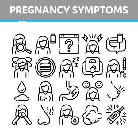 Symptomps Of Pregnancy Element Icons Set. Fatigue And Nausea, Food Aversion And Frequent Urination, Constipation And Faintness Symptomps Of Pregnancy Pictograms. Black Contour Illustrations