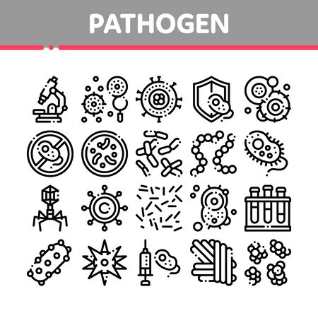 Collection Pathogen Elements Sign Icons Set. Pathogen Bacteria Microorganism, Microbes And Germs Linear Pictograms. Analysis In Flask, Microscope And Injection Black Contour Illustrations