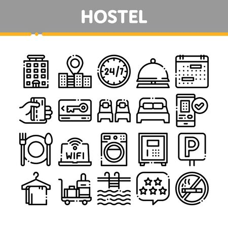 Collection Hostel Elements Sign Icons Set. Building Hostel And Location, Calendar And Parking Symbol, Bed And Laundry Machine Linear Pictograms. Wifi Internet Black Contour Illustrations