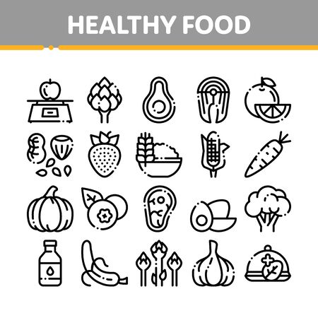 Collection Healthy Food Thin Line Icons Set. Vegetable, Fruit And Meat Healthy Food Linear Pictograms. Strawberry And Orange, Blueberry And Pumpkin, Eggs And Fish Black Contour Illustrations