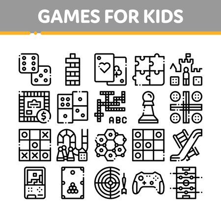 Interactive Kids Games Thin Line Icons Set. Domino, Chess And Video Games Controller Linear Pictograms. Cards And Billiard, And Darts Black Contour Illustrations Banco de Imagens