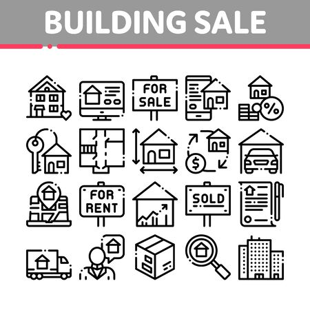 Building House Sale Thin Line Icons Set. Building Sale And Rent Tablet, Web Site, Smartphone Application Linear Pictograms. Garage, Skyscraper, Truck Cargo Black Contour Illustrations Banco de Imagens