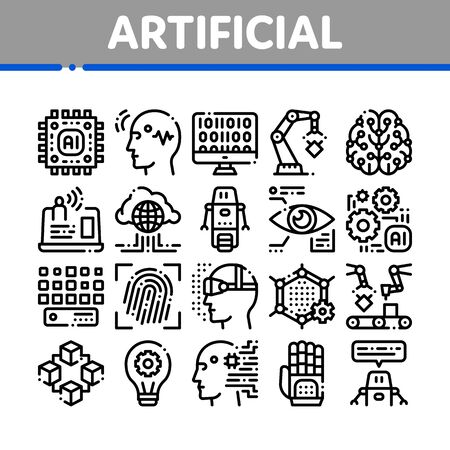 Artificial Intelligence Thin Icons Set. Artificial Intelligence Details Binary Code, Robot, Light Bulb Linear Pictograms. Fingerprint, Microchip, Assembly Line Black Contour Illustrations
