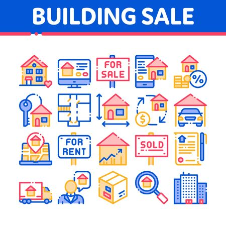 Building House Sale Thin Line Icons Set. Building Sale And Rent Tablet, Web Site, Smartphone Application Linear Pictograms. Garage, Skyscraper, Truck Cargo Color Contour Illustrations