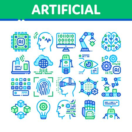 Artificial Intelligence Thin Icons Set. Artificial Intelligence Details Binary Code, Robot, Light Bulb Linear Pictograms. Fingerprint, Microchip, Assembly Line Color Contour Illustrations Banco de Imagens