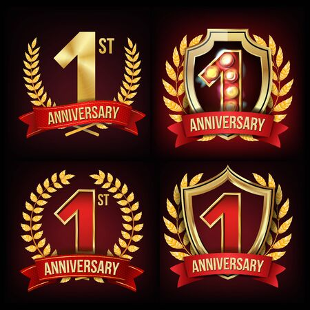 1 Year Anniversary Banner . One, First Celebration. Shining Gold Sign. Number One. Laurel Wreath. Red Ribbon. For Business Event Design. Illustration