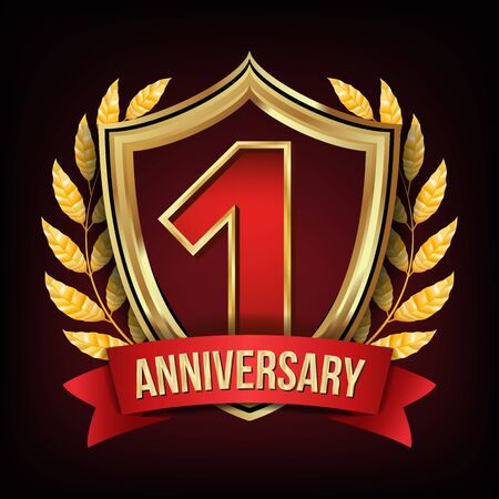 1 Anniversary Banner . One Year Age, First Celebration. Shining Digit Sign. Gold Number One. Laurel Wreath. For Party Flyers, Cards Design. Illustration