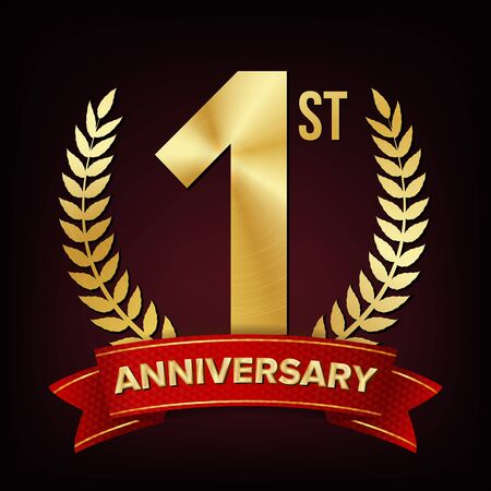 1 Year Anniversary . One, First Celebration Banner. Gold Digit Sign. Number One. Laurel Wreath. For Business Cards, Postcards, Flyers Event Design. Illustration
