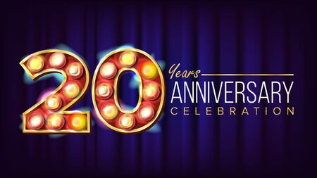 20 Years Anniversary Banner . Twenty, Twentieth Celebration. Lamp Background Digits. For Flyer, Card, Wedding, Advertising Design. Business Background Illustration