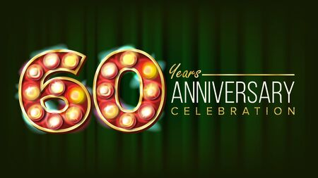 60 Years Anniversary Banner . Sixty, Sixtieth Celebration. 3D Glowing Element Digits. For Flyer, Card, Wedding, Advertising Design. Green Background Illustration