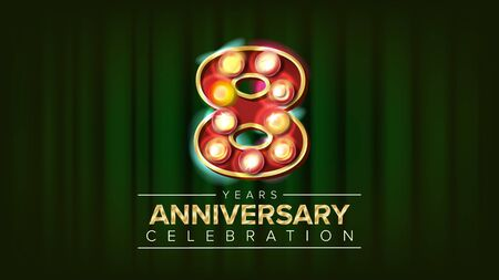 8 Years Anniversary Banner . Eight, Eighth Celebration. 3D Glowing Element Digits. For Congratulation Postcards, Flyers, Gift Cards Advertising Design. Classic Background Illustration 写真素材