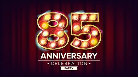 85 Years Anniversary Banner . Eighty-five, Eighty-fifth Celebration. Shining Light Sign Number. For Business Cards, Postcards, Flyers, Gift Cards Design. Modern Background Illustration