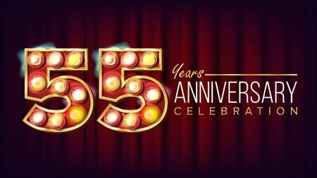 55 Years Anniversary Banner . Fifty-five, Fifty-fifth Celebration. Shining Light Sign Number. For Party, Banner, Badge Design. Red Background Illustration 写真素材