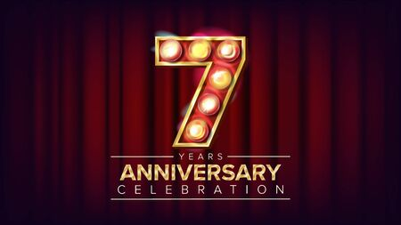 7 Years Anniversary Banner . Seven, Seventh Celebration. Shining Light Sign Number. For Birthday Poster Template Design. Red Background Illustration