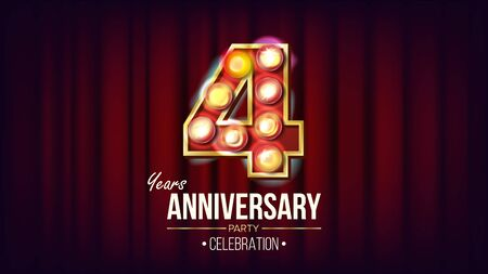 4 Years Anniversary Banner . Four, Fourth Celebration. Vintage Style Illuminated Light Digits. For Flyer, Card, Wedding, Advertising Design. Red Background Illustration Stok Fotoğraf