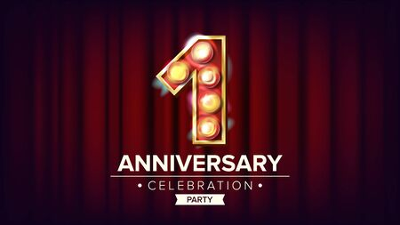 1 Year Anniversary Banner . One, First Celebration. Shining Light Sign Number. For Business Cards, Postcards, Flyers, Gift Cards Design. Red Background Illustration