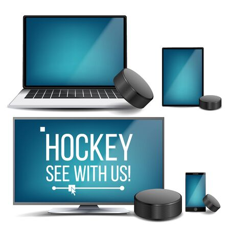 Hockey Application . Hockey Puck. Online Stream, Bookmaker, Sport Game App. Banner Design Element. Live Match. Monitor, Laptop, Touch Tablet Mobile Phone Realistic Illustration Foto de archivo - 128881145