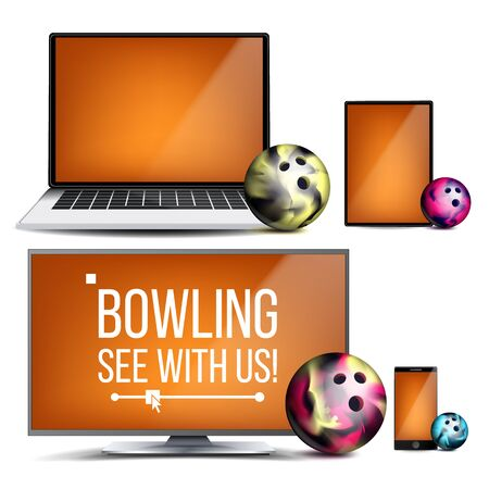 Bowling Application . Bowling Ball. Online Stream, Bookmaker, Sport Game App. Banner Design Element. Live Match. Monitor, Laptop, Touch Tablet Mobile Phone Realistic Illustration