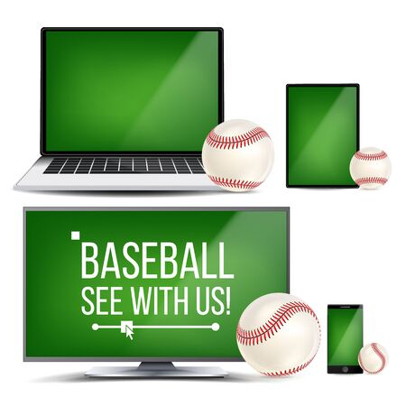 Baseball Application . Field, Baseball Ball. Online Stream, Bookmaker Sport Game App. Banner Design Element. Live Match. Monitor, Laptop, Touch Tablet, Smart Phone Realistic Illustration