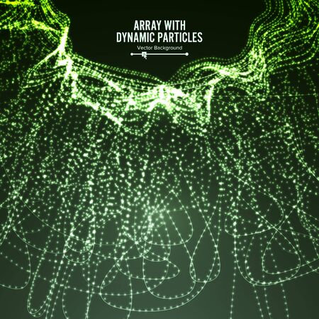 Array With Dynamic Particles. Technology Motion Design. Graphic Abstract Background With Lighting Effect