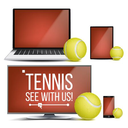 Tennis Application . Court, Tennis Ball. Online Stream, Bookmaker, Sport Game App. Banner Design Element. Live Match. Monitor, Laptop, Touch Tablet Smart Phone Realistic Illustration 스톡 콘텐츠
