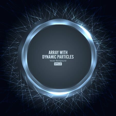 Array With Dynamic Particles. Round Shape Of Particles Array. Graphic Abstract Background With Lighting Effect 写真素材