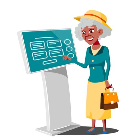 Old Woman Using ATM, Digital Terminal . Interactive Informational Kiosk. Electronic Self Service Payment System. Isolated Flat Cartoon Illustration