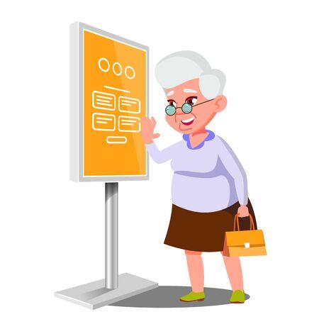 Old Woman Using ATM, Digital Terminal . Showcasing Information, Advertising. Isolated Flat Cartoon Illustration