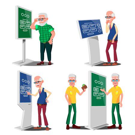Old Man Using ATM, Digital Terminal . Showcasing Information, Advertising. Isolated Flat Cartoon Illustration Stockfoto