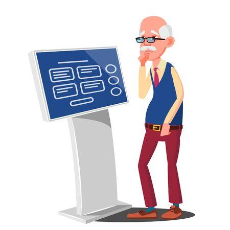 Old Man Using ATM Machine, Digital Terminal . Digital Kiosk LED Display. Self Service Information System. Isolated Flat Cartoon Illustration Stockfoto