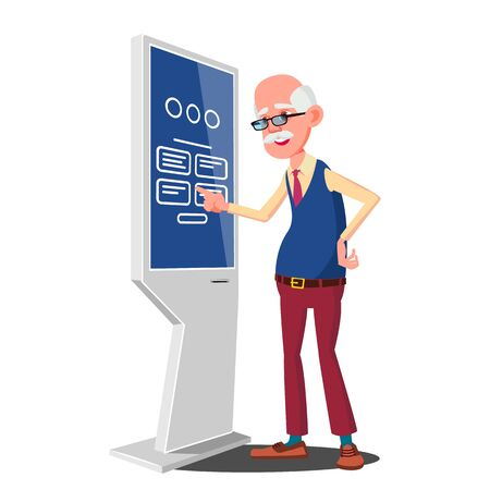 Old Man Using ATM, Digital Terminal . Interactive Informational Kiosk. Electronic Self Service Payment System. Isolated Flat Cartoon Illustration