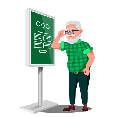 Old Man Using ATM, Digital Terminal . Advertising Touch Screen. Floor Standing. Money Deposit, Withdrawal. Isolated Flat Cartoon Illustration