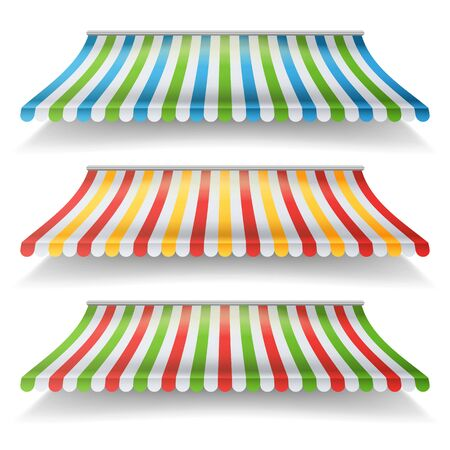 Striped Awnings Set. Large Striped Awnings For Shop And Market Store. Design Element For Shops, Store Front. Isolated Illustration