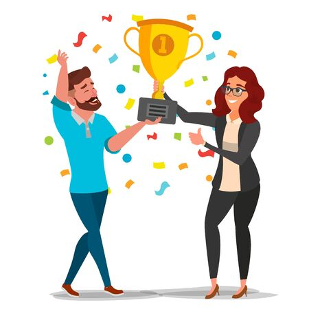 Business Woman And Man Achievement Concept . Best Workers Celebrating Success. Attainment, Company Progress. Management Goal. Leader Holding Winner Golden Cup. Flat Cartoon Illustration Imagens - 128881219