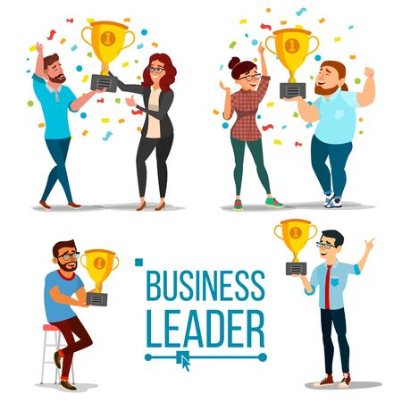 Attainment Concept . Set Business Man And Woman. Attainment, Company Progress. Management Goal. Golden Cup Award. Celebrating Success. Team Achievement. Cartoon Illustration