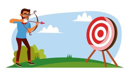 Attainment Concept . Businessman Shooting From A Bow In A Target. Objective Attainment, Achievement. Cartoon Illustration 스톡 콘텐츠