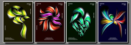 Creative Poster Set . Abstract Colorful Liquid And Fluid Colors. Colorful Wave Lines. Creative Decoration. Trendy Presentation. Illustration 写真素材