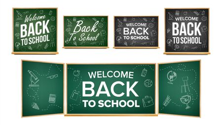 Back To School Banner Design . Classroom Chalkboard, Blackboard. Doodle Icons. Sale Background. Welcome. 1 September. Education Related Illustration 写真素材