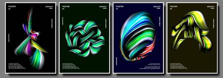 Liquid, Brush Poster Set . Multicolored Object. Drop, Oil. Surreal Graphic. Vibrant Gradients Shape Illustration